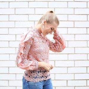 Tops - Pink Ruffle Trim Hollow Out Embroidered Lace Top